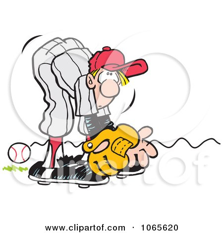 Clipart Baseball Player Missing A Rolling Ball - Royalty Free Vector Illustration by Johnny Sajem