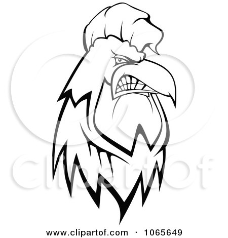 Clipart Outlined Tough Rooster - Royalty Free Vector Illustration by Vector Tradition SM