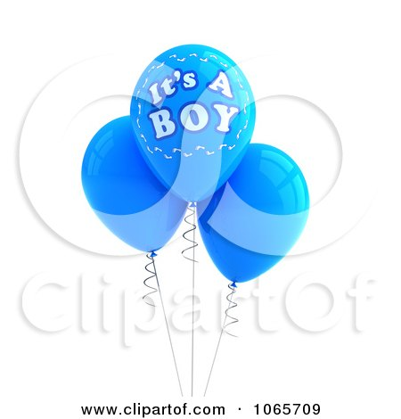 Clipart 3d Its A Boy Balloons 1 Royalty Free Cgi