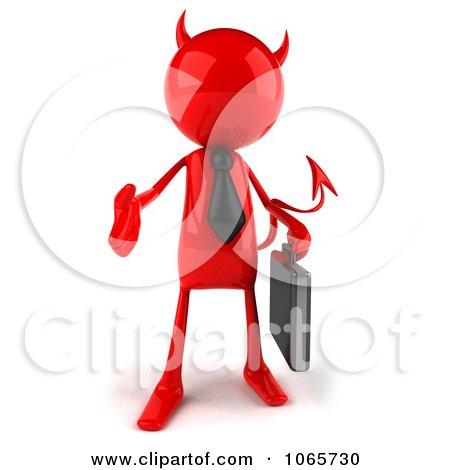 Clipart 3d Red Bob Devil Businessman 1 - Royalty Free CGI Illustration by Julos