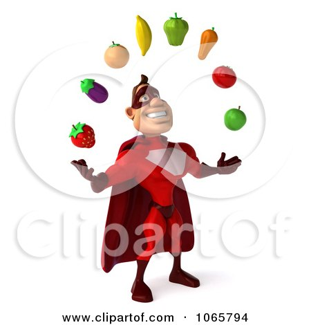 Clipart 3d Red Super Hero Juggling Produce 2 - Royalty Free CGI Illustration by Julos