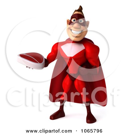 Clipart 3d Red Super Hero Holding Steak 3 - Royalty Free CGI Illustration by Julos