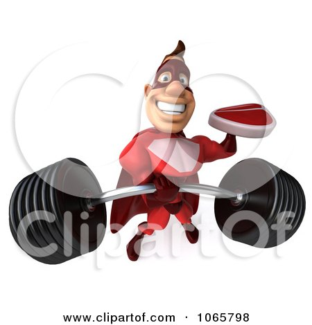 Clipart 3d Red Super Hero Holding Steak And A Barbell - Royalty Free CGI Illustration by Julos