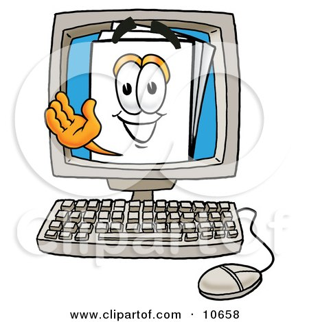 Clipart Picture of a Paper Mascot Cartoon Character Waving From Inside a Computer Screen by Toons4Biz