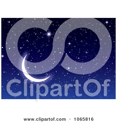 Clipart Crescent Moon And Sparkly Stars - Royalty Free Vector Illustration by michaeltravers