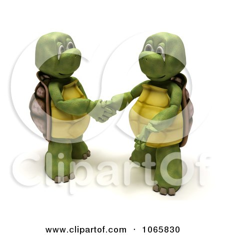 3d Tortoises Shaking Hands Posters, Art Prints