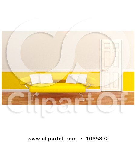 Clipart 3d Yellow Sofa With White Pillows - Royalty Free CGI Illustration by KJ Pargeter