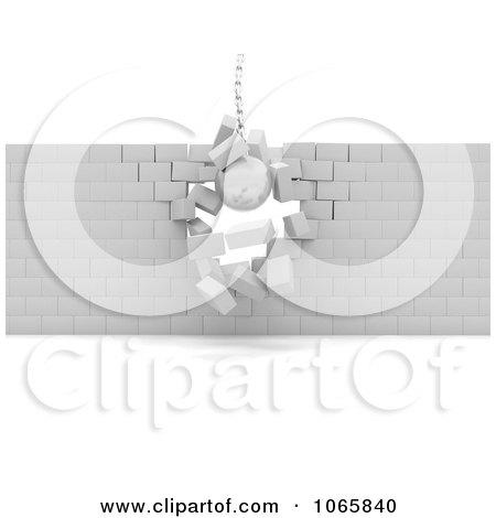 Clipart 3d Demolish Ball Breaking Through Bricks - Royalty Free CGI Illustration by KJ Pargeter