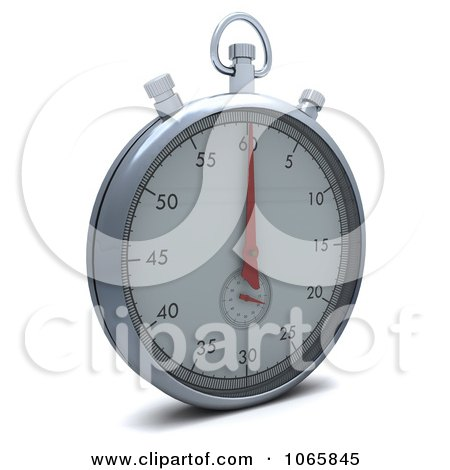 Clipart 3d Silver Stopwatch - Royalty Free CGI Illustration by KJ Pargeter