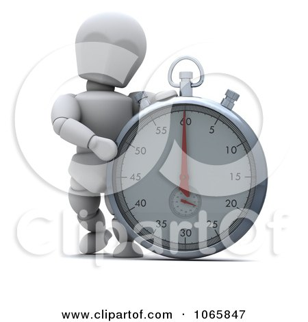 Clipart 3d White Character By A Stopwatch - Royalty Free CGI Illustration by KJ Pargeter