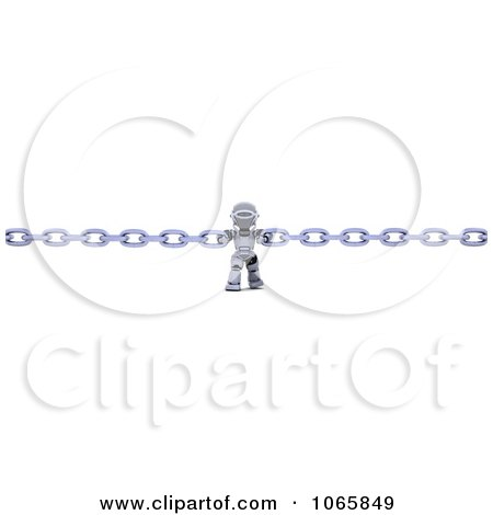 Clipart 3d Robot Holding Two Chains Together - Royalty Free CGI Illustration by KJ Pargeter