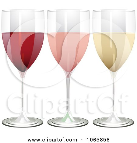 Clipart 3d Glasses Of Red, Rose And White Wine - Royalty Free Vector Illustration by elaineitalia