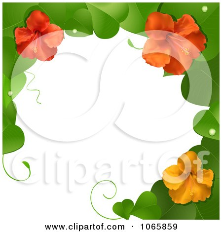Clipart 3d Hibiscus Flower And Leaves Border - Royalty Free Vector Illustration by elaineitalia
