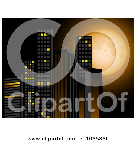 Clipart 3d Skyscrapers Against A Full Moon - Royalty Free Vector Illustration by elaineitalia