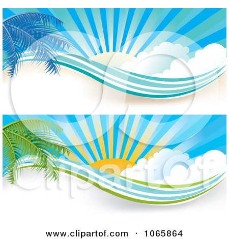 Clipart Palm Tree And Sunshine Website Banners - Royalty Free Vector Illustration by MilsiArt