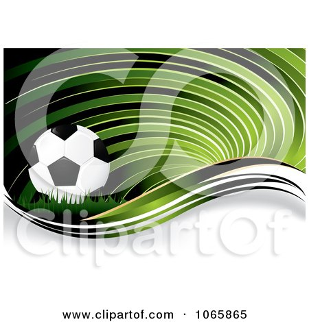 Clipart Green Soccer Swirl Background - Royalty Free Vector Illustration by MilsiArt