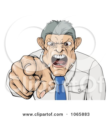 Clipart Mad Boss Pointing Spitting And Yelling - Royalty Free Vector Illustration by AtStockIllustration