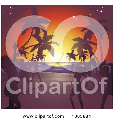 Clipart Silhouetted Ladies Dancing On A Tropical Beach - Royalty Free Vector Illustration by AtStockIllustration