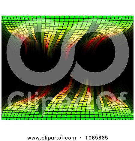 Clipart Green Waving Equaliser On Black - Royalty Free Vector Illustration by AtStockIllustration