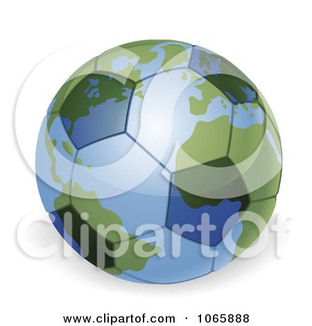 Clipart 3d Soccer Ball Globe - Royalty Free Vector Illustration by AtStockIllustration
