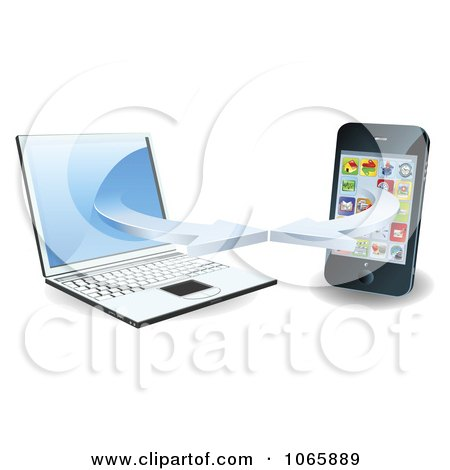 Clipart 3d Laptop And Smart Phone Connecting On A Wifi Network - Royalty Free Vector Illustration by AtStockIllustration