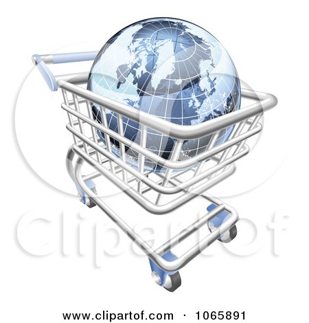 Clipart 3d Blue Globe In A Shopping Cart - Royalty Free Vector Illustration by AtStockIllustration