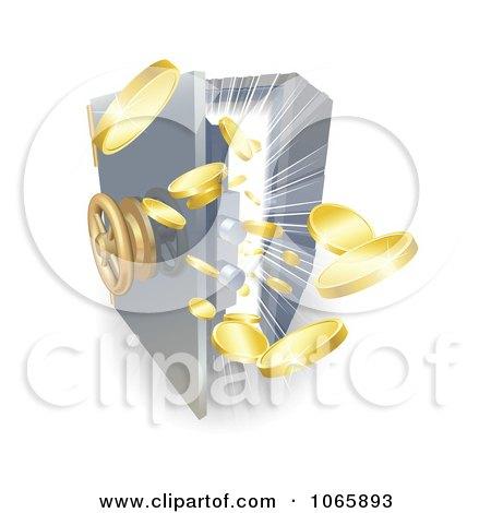 Clipart 3d Gold Ingots Bursting Out Of A Safe - Royalty Free Vector Illustration by AtStockIllustration