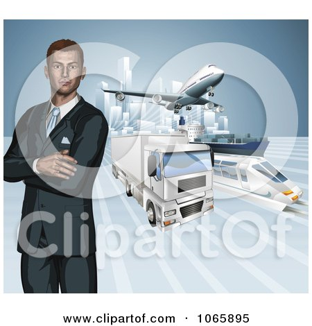 Clipart 3d Businessman With Transportation Modes - Royalty Free Vector Illustration by AtStockIllustration