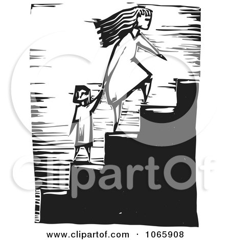 Clipart Mother Leading Her Child Up Stairs - Royalty Free Vector Illustration by xunantunich