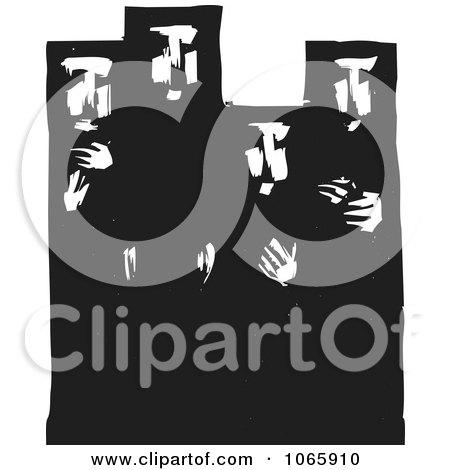 Clipart Muslim Women Wearing Burkas - Royalty Free Vector Illustration by xunantunich
