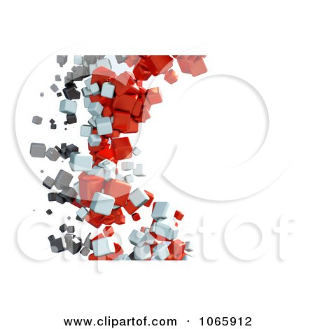 Clipart Horizontal Background Of Floating Cubes - Royalty Free CGI Illustration by chrisroll