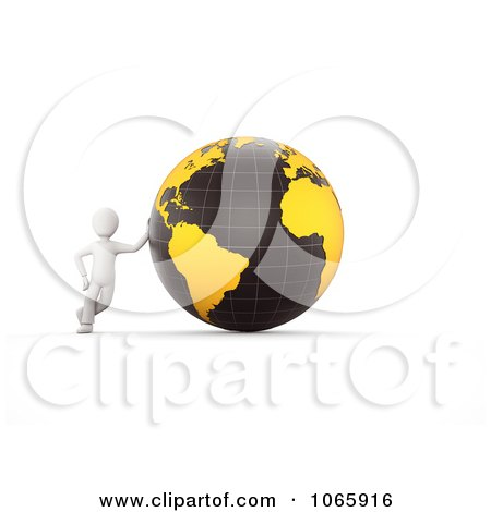 Clipart 3d White Person Leaning Against A Globe - Royalty Free CGI Illustration by chrisroll