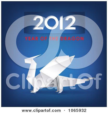Clipart Blue Origami Year Of The Dragon - Royalty Free Vector Illustration  by Eugene