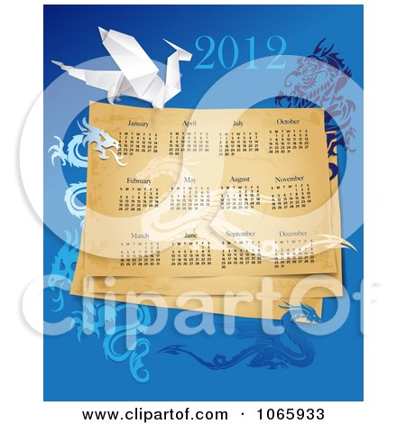 Clipart 2012 Year Of The Dragon Calendar - Royalty Free Vector Illustration  by Eugene