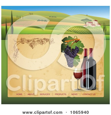 Clipart Winery Website Template 2 - Royalty Free Vector Illustration  by Eugene