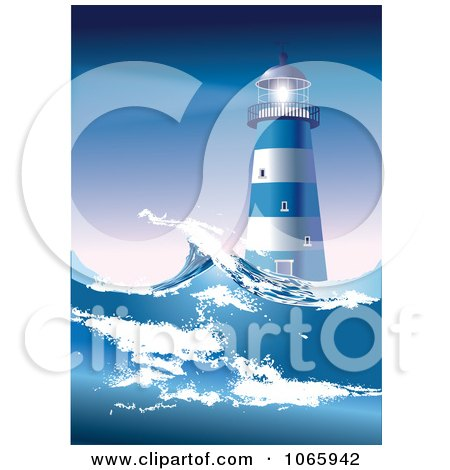 Clipart Lighthouse And Rough Seas - Royalty Free Vector Illustration  by Eugene