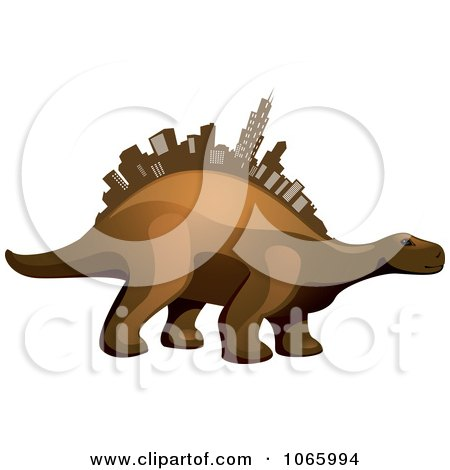 Clipart Dino With A Skyscraper Spine - Royalty Free Vector Illustration by Vector Tradition SM