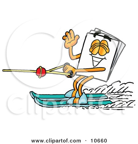 Clipart Picture of a Paper Mascot Cartoon Character Waving While Water Skiing by Toons4Biz