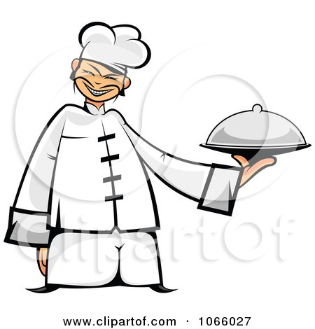 Clipart Asian Chef Holding A Platter - Royalty Free Vector Illustration by Vector Tradition SM