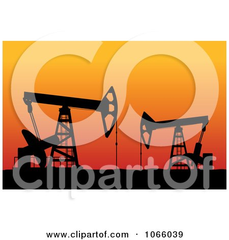 Clipart Oil Field At Sunset - Royalty Free Vector Illustration by Vector Tradition SM