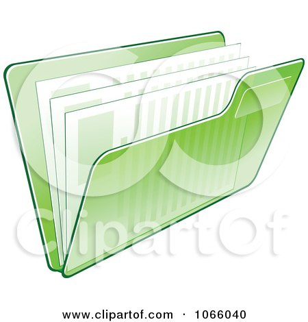 Clipart Transparent Green File Folder And Documents - Royalty Free Vector Illustration by Vector Tradition SM