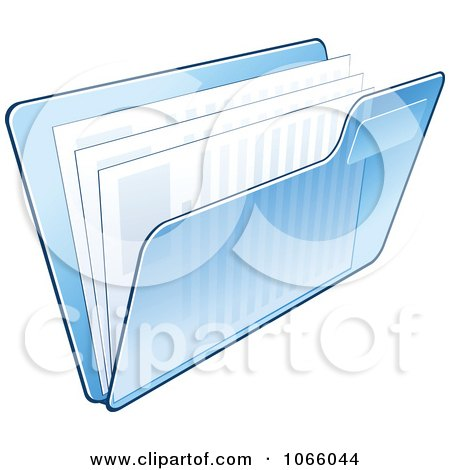 Clipart Transparent Blue File Folder And Documents - Royalty Free Vector Illustration by Vector Tradition SM