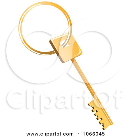 Clipart 3d Golden Skeleton House Key - Royalty Free Vector Illustration by Vector Tradition SM