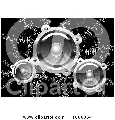 Clipart Music Waves And Speakers On Black - Royalty Free Vector Illustration by Vector Tradition SM