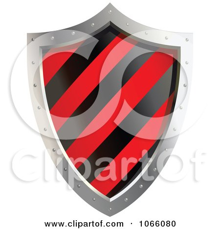 Clipart 3d Red And Black Shield - Royalty Free Vector Illustration by Vector Tradition SM