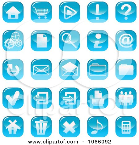 Clipart Shiny Blue Web Browser Icons - Royalty Free Vector Illustration by Vector Tradition SM