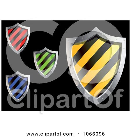 Clipart 3d Striped Shields - Royalty Free Vector Illustration by Vector Tradition SM