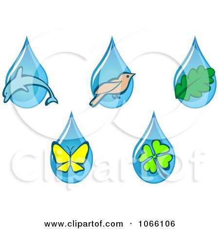 Clipart Animal And Nature Waterdrops - Royalty Free Vector Illustration by Vector Tradition SM