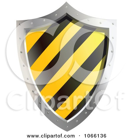 Clipart 3d Yellow And Black Shield - Royalty Free Vector Illustration by Vector Tradition SM