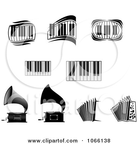 Clipart Grammophones, Accordions And Keyboards - Royalty Free Vector Illustration by Vector Tradition SM